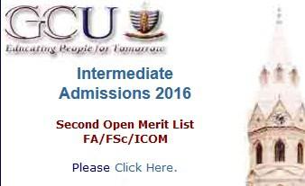 GC University Lahore 2nd Open Merit List