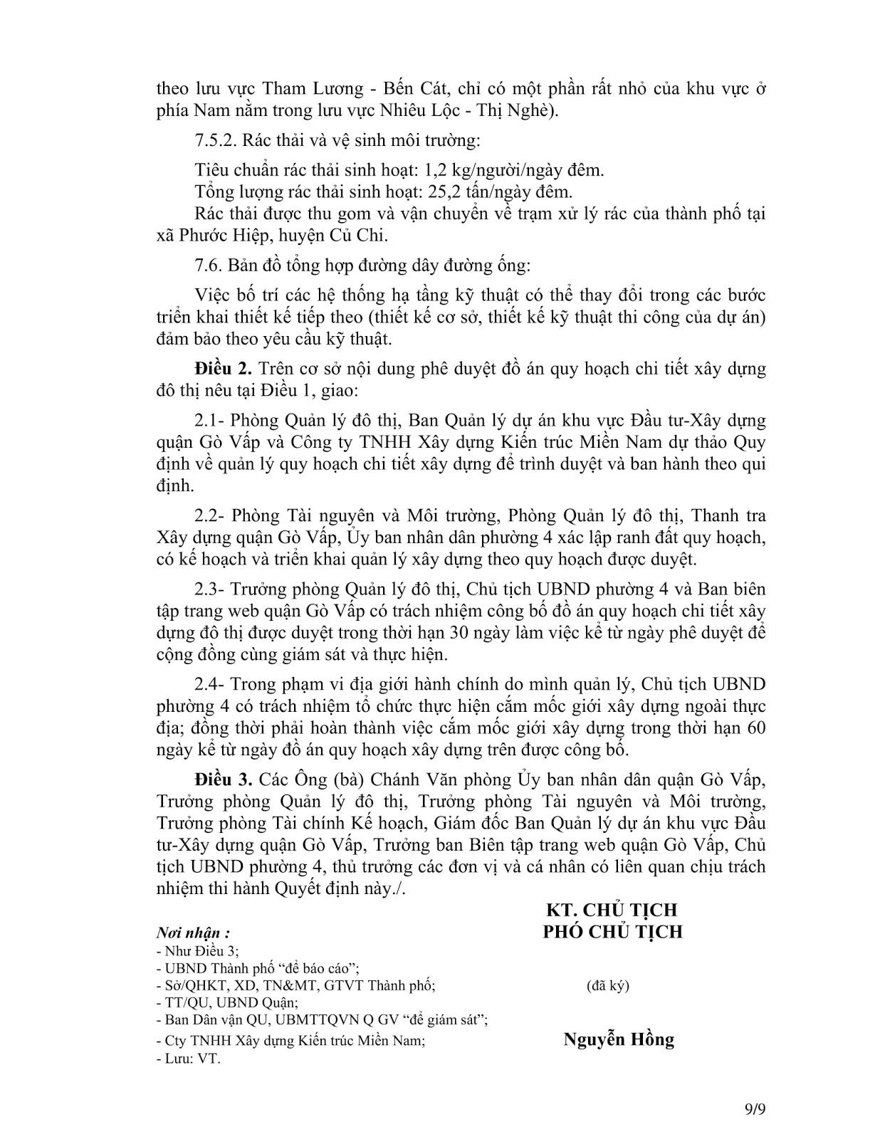 Quyết Định Số 2921/QĐ-UBND Quy Hoạch Khu Dân Cư Phường 4 Quận Gò Vấp Tờ 9