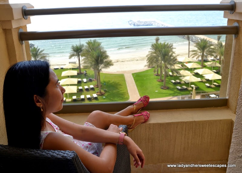 a view of The Ajman Palace private beach from the room terrace