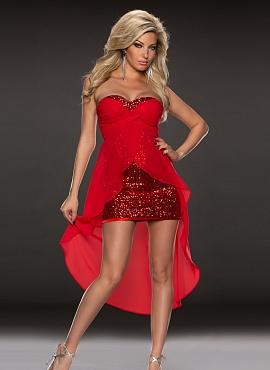 rochie asimetrica rosie