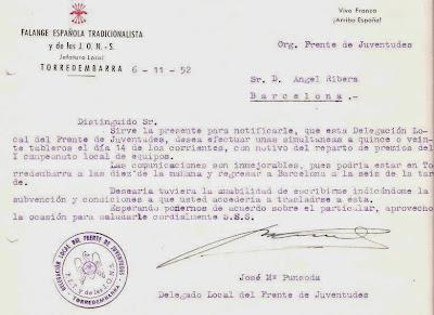 Carta del Club Arenys de Munt a Àngel Ribera, 1952