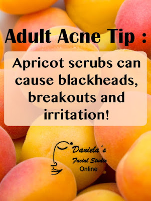 Apricot scrubs can cause blackheads, breakouts and irritation!  Find out more on the Acne Whisperer Blog.