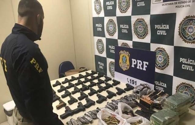 PRF apreende 34 pistolas e 2.300 munições no Rio