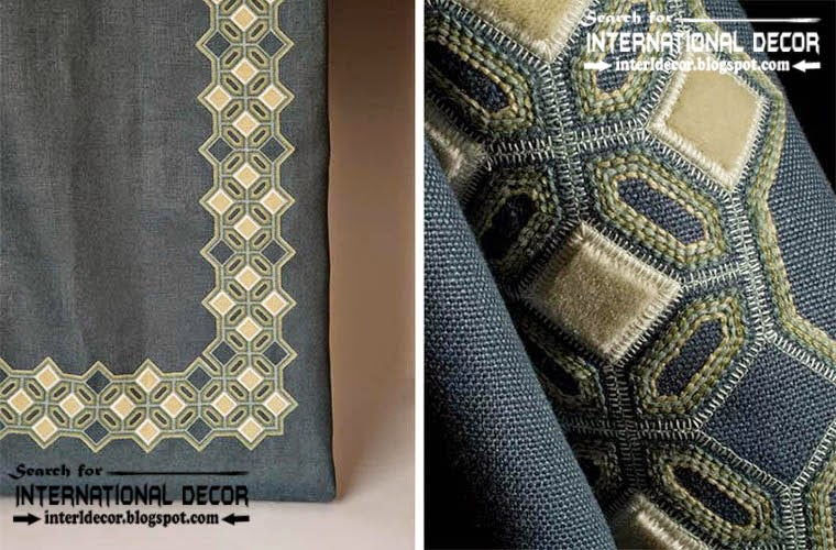 Luxurious embroidered fabric for curtains, drapes and bedspreads, embroidery patterns