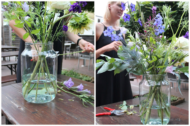 Blumen Bouquet richtig arrangieren mit bloomon Strauss Workshop Jules kleines Freudenhaus
