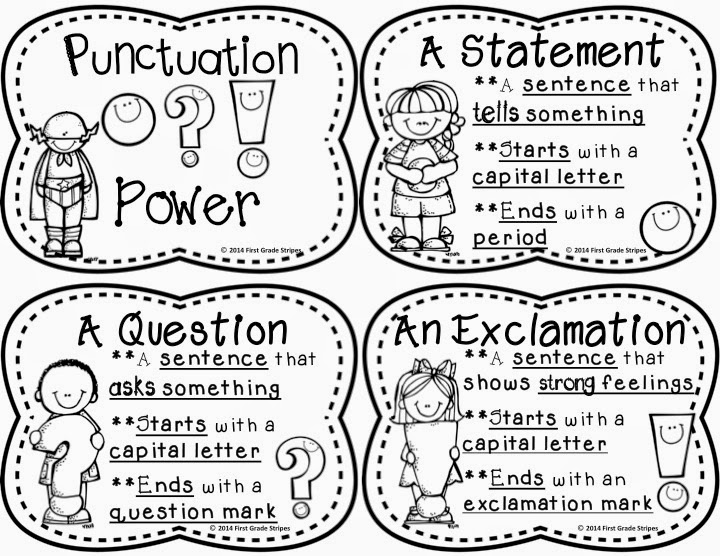 First Grade Stripes: Punctuation Power Signs & Interactive