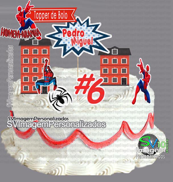Aqui você encontra preço mais barato para topper de bolo personalizado, no tema Homem Aranha da Marvel, para festa de menino com os detalhes da festa azul e vermelho, esse super herói fará o maior sucesso em sua festa