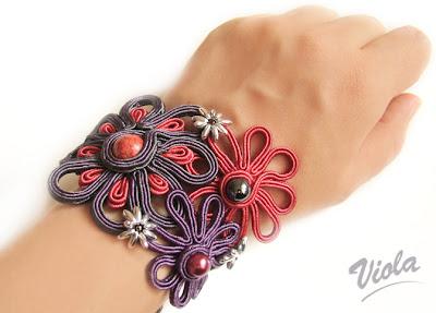 bransoletka sutaszowe kwiaty