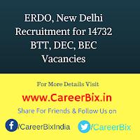 ERDO, New Delhi Recruitment for 14732 BTT, DEC, BEC Vacancies