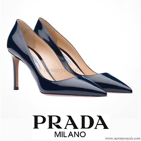 Crown Princess Mette-Marit wore PRADA royal blue Pump