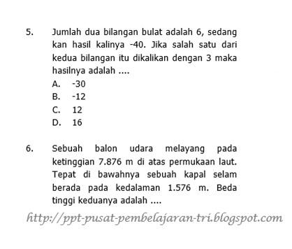 Contoh dan Soal Matematika Bilangan Bulat kelas 7 Latihan Ujian semester