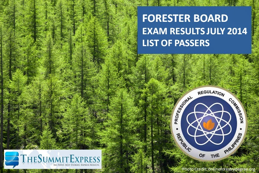 Forestry Board Exam Results (July 2014) List of Passers