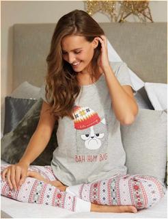 Womens Grey Cat Slogan Pyjama Set