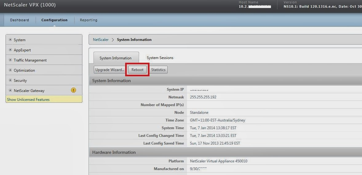 Netscaler VPX 10 / appliance Reboot
