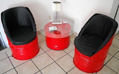 kursi teras dari drum