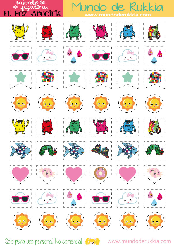 calendario infantil y pegatinas del pez arcoiris mundo