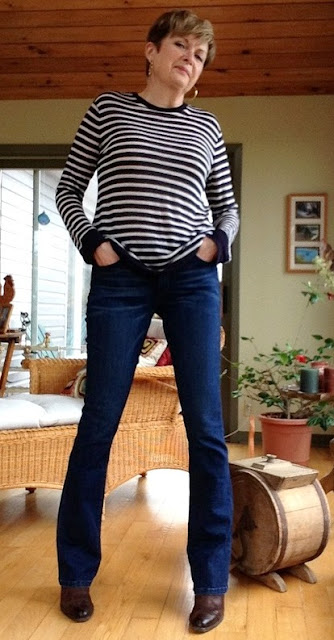 new jeans with striped tee.