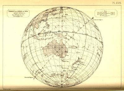 Zonas donde se podía observa el tránsito de Venus sobre el Sol.