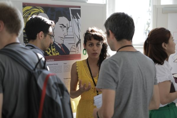 Image Attribute:  In short presentations at the Poster Fair, the students discussed their research ideas with each other. August 8, 2018 | ID: P90317776 / Source: BMW PressClub