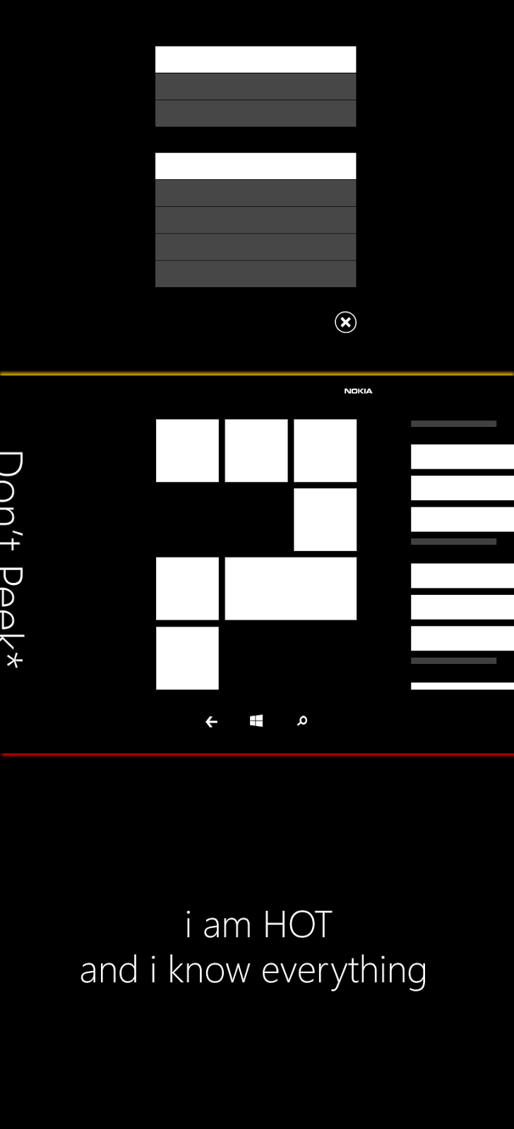 This image is trying to show what swiping up/down and left/right will do in WP 8.1. Swiping to the left ( Don't Peek*), for example, transitions to a 'Me, quick share, settings personalize', according to the leak