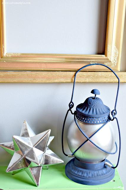 Navy Blue Rustic Metal Thrift Store Lantern DIY Makeover