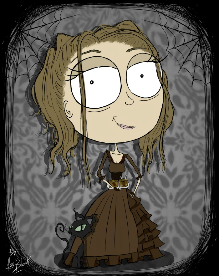 Heather drawn in the style of Mrs. Lovett