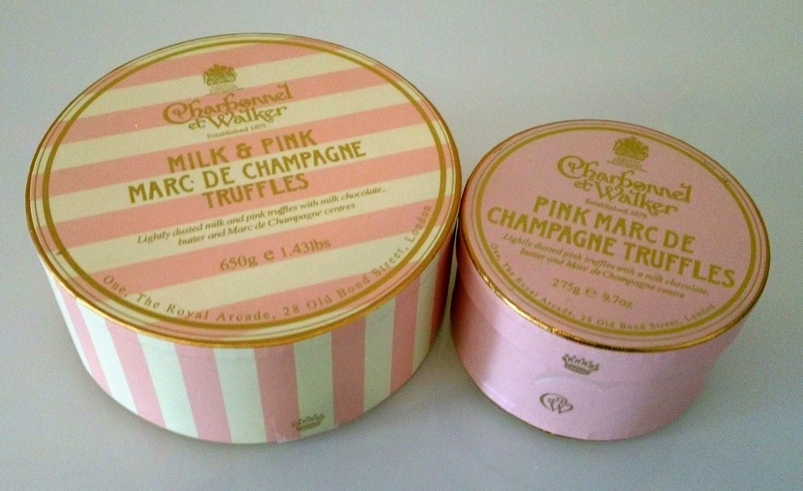 Marc De Champage Truffles, Pink Marc De Champagne Truffles, Charbonnel et Walker, Handmade Chocolates, Chocolatier, Champagne Truffles