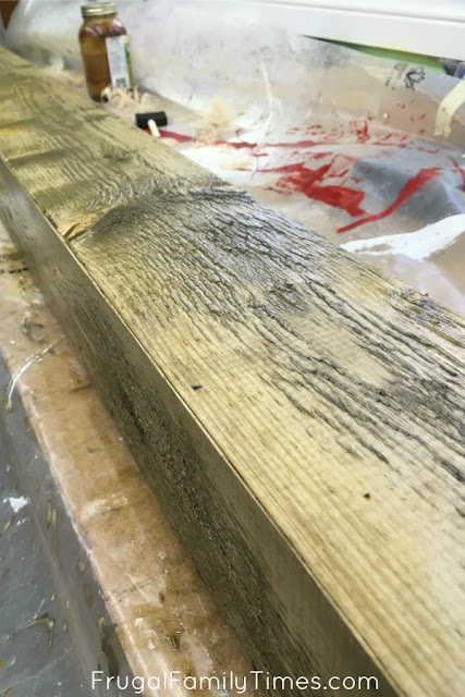 how to make faux beam wood finish