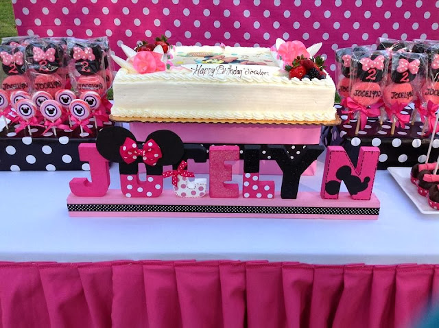 minnie mouse party cake and name