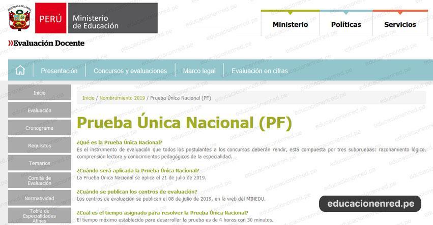 NOMBRAMIENTO DOCENTE 2019: Prueba Única Nacional (21 Julio) PREGUNTAS FRECUENTES - MINEDU - www.minedu.gob.pe
