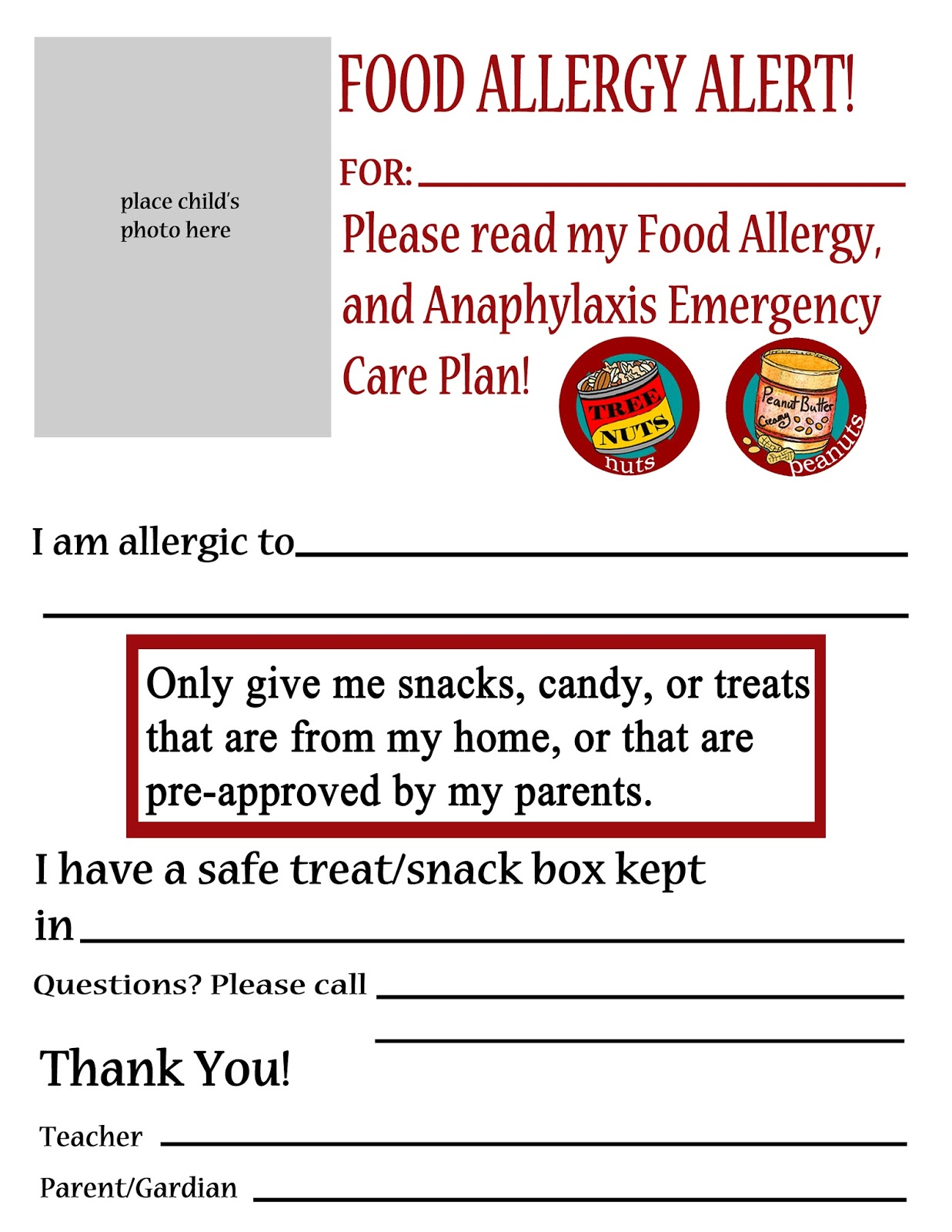 Thriving With Allergies Substitute Teacher Handouts for Kids with