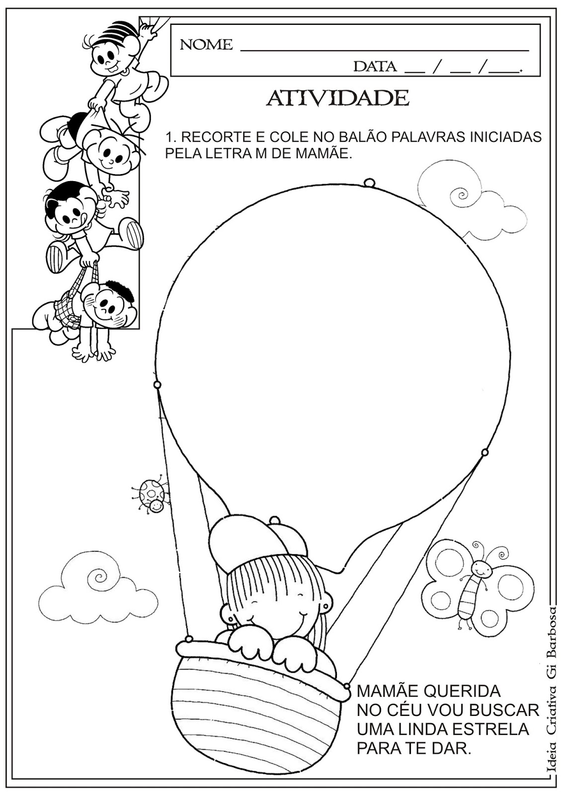 Atividade Dia Das Maes Recorte E Colagem Letra Inicial