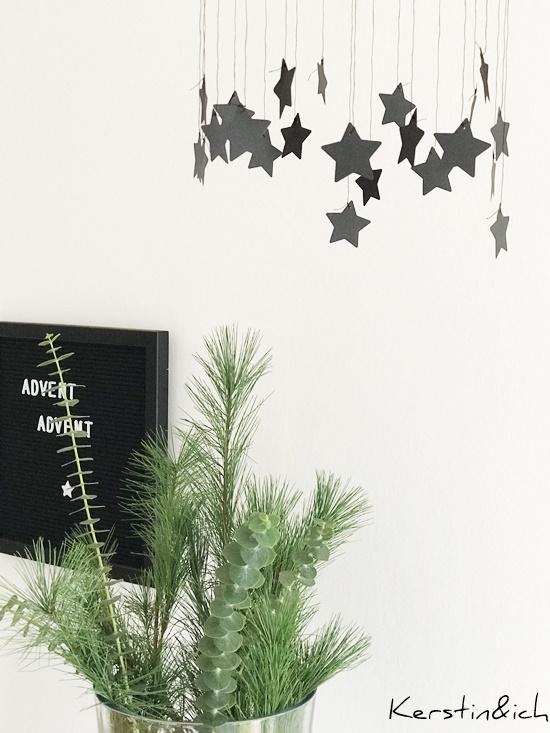 DIY Weihnachtsdeko Sternenkranz Schwarz/Weiß