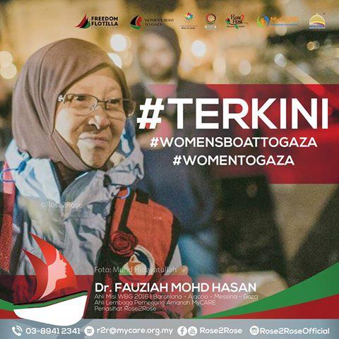 13 aktivis Women's Boat To Gaza ditahan rejim Israel, WBG, Rose2rose, Dr Fauziah Mohd Hasan, bebaskan aktivis WBG, Nama 13 aktivis WBG,