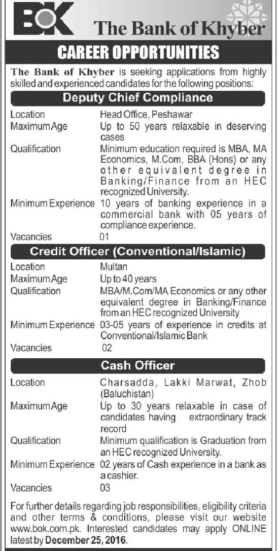 The Bank of Khyber Officer Jobs