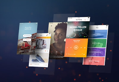 Mobile App Screens Mockup PSD
