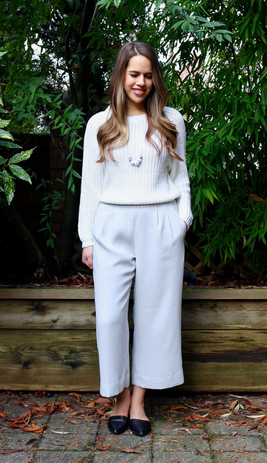 Jules in Flats - Winter White Culotte Outfit (Business Casual Winter Workwear on a Budget)