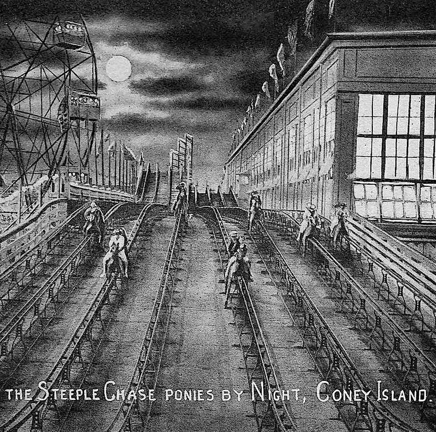 The Steeple Chase ride at Coney Island New York in 1920, an illustration