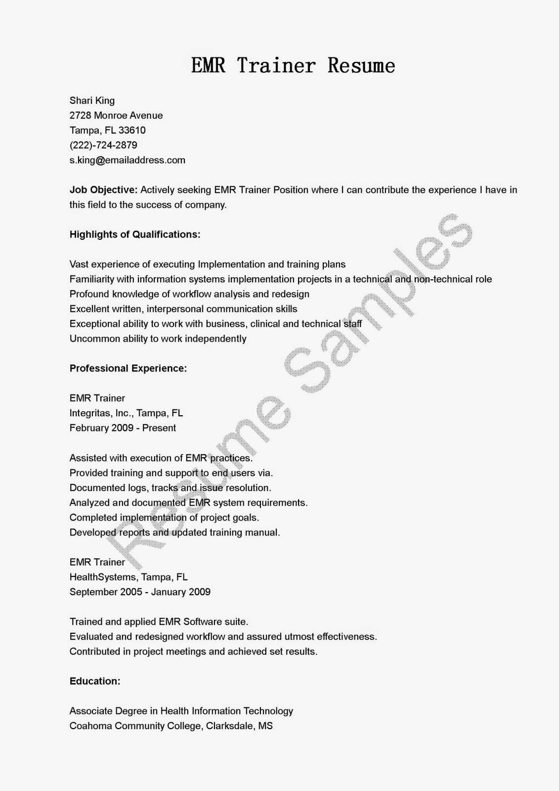 EMR%2BTrainer%2BResume Sample Application Letter For Food Technology on for transfer, teaching position, for school board, high school, for housekeeping, college scholarship, any position,