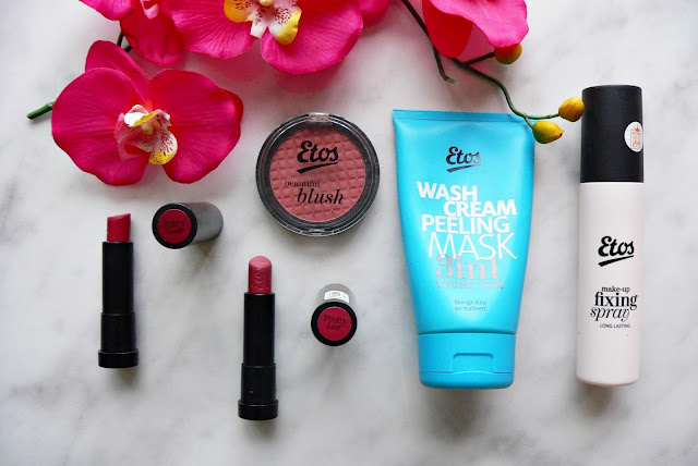 Etos, make-up, beauty, review, swatch, lipstick, etos color care  lipstick, juicy gossip, pretty liar, etos beautiful blush, sun loving sand, etos wash cream peeling mask 3 in 1, etos make-up fixing setting spray