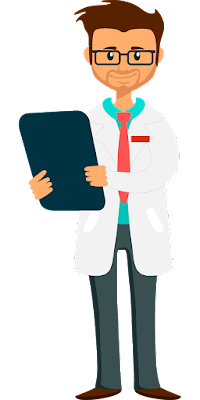 cartoon of a man wearing a lab coat with a clipboard