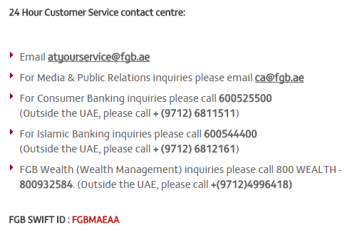 first gulf bank customer service dubai uae customer