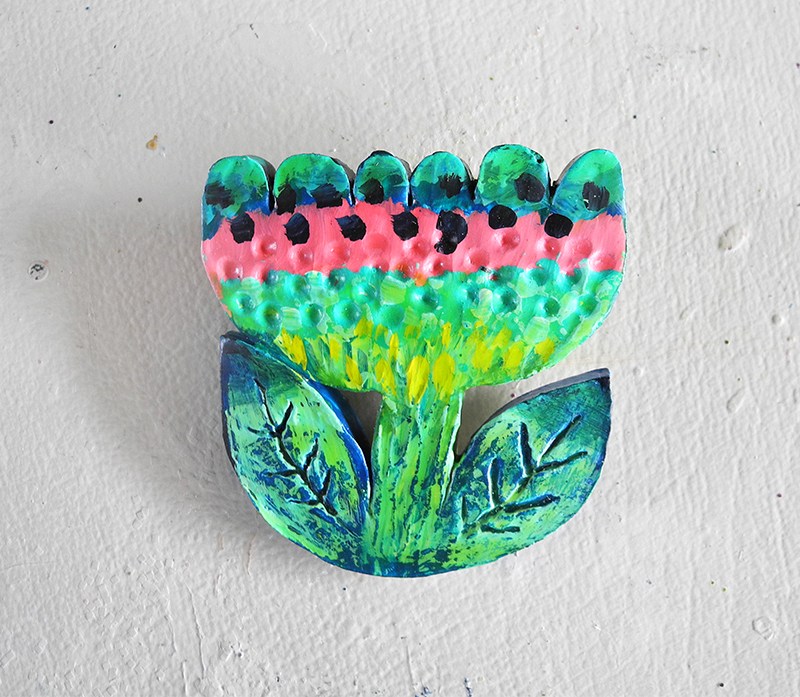 unique, handmade, hand painted jewelry, handmade brooch