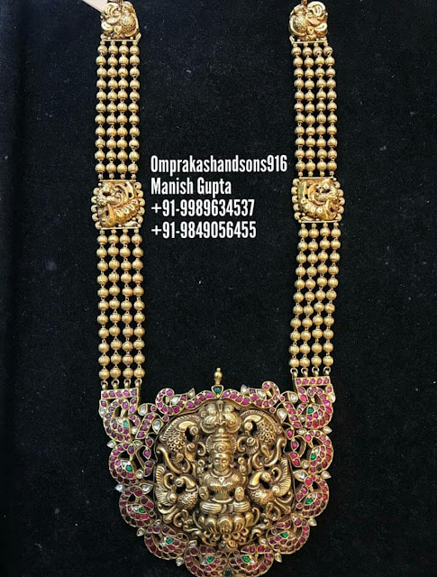 Lakshmi Pendants with Chains in Black Finish