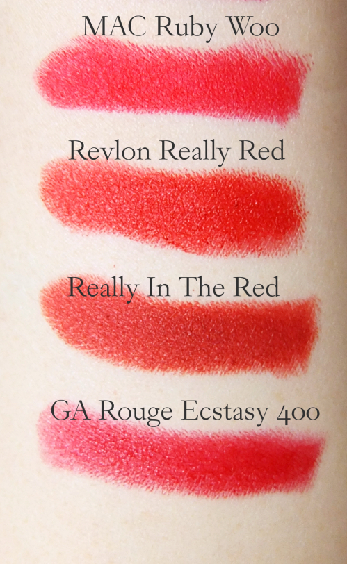 MAC Ruby Woo swatch comparison
