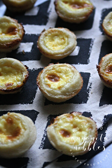 Rows of gluten free egg custard tarts