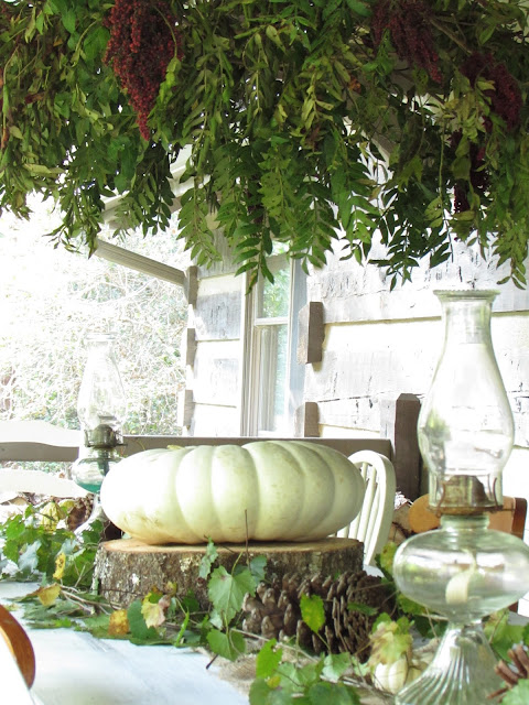 Fall Outdoor Tablescape and Chandelier