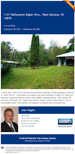 John A Rogers Coldwell Banker Developac Realty 1311 Wallaceton Bigler highway for sale