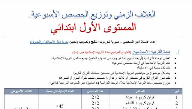 الغلاف الزمني وتوزيع الحصص الأسبوعية بالسنة الأولى وفق مستجدات المنهاج الدراسي للتعليم الابتدائي.
