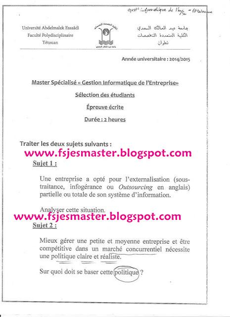 Concours Master Gestion Informatique de l'Entreprise 2014-2015